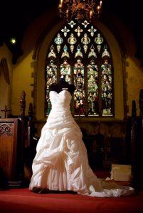 Wedding dress on display at All Saints Church