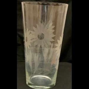 Etched Glass Vase 10 inch