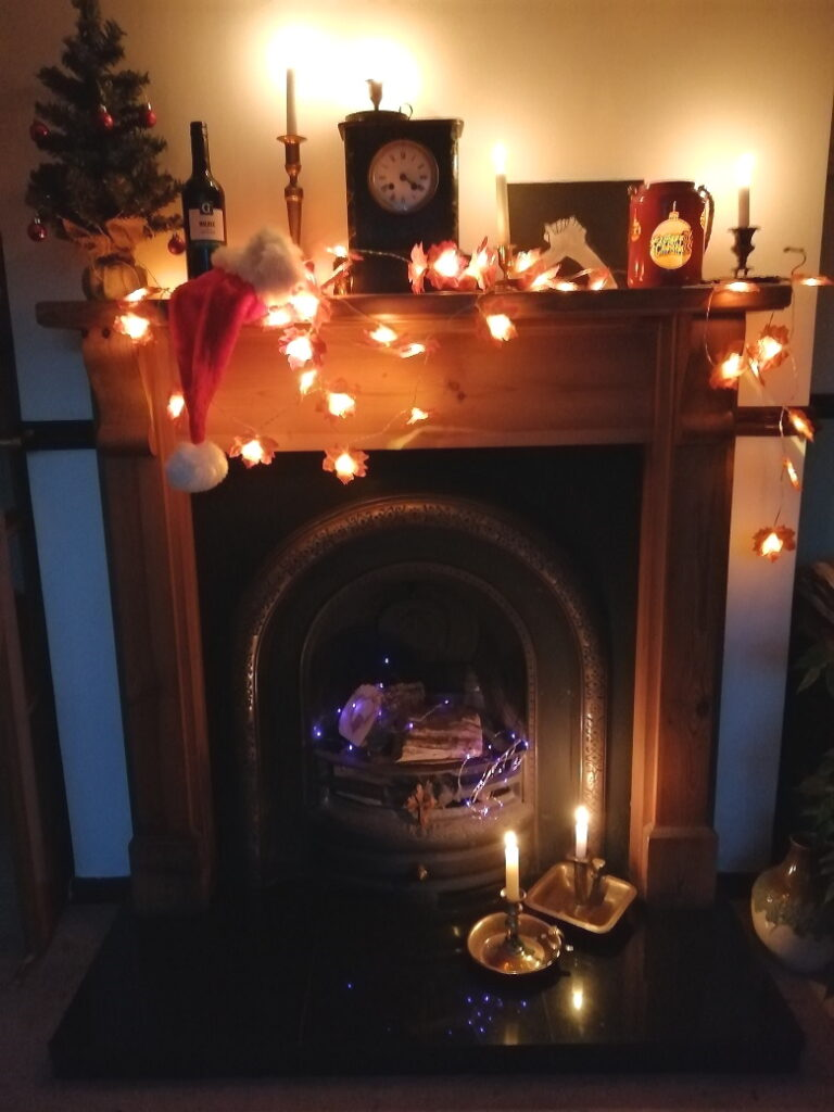 decorated christmas fireplace photo